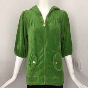 Twisted heart green hoodie zip jacket